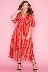 Rochelle Red Print Dress