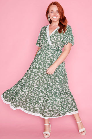 Cynthia Green Floral Dress