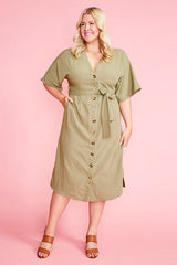 Elaine Khaki Dress