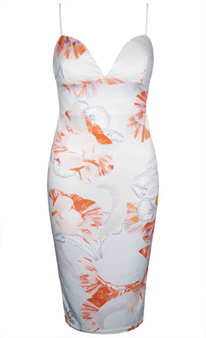 Fiji Orange Tropical Midi Dress