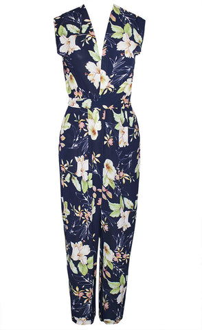 Becky Navy Floral Jumpsuit