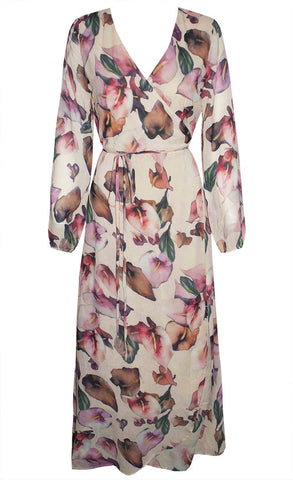 Luncheon Floral Wrap Dress