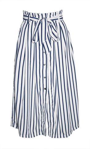 Tahiti White Stripe Midi Skirt