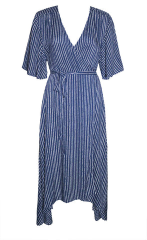 Mandy Blue Stripe Wrap Dress