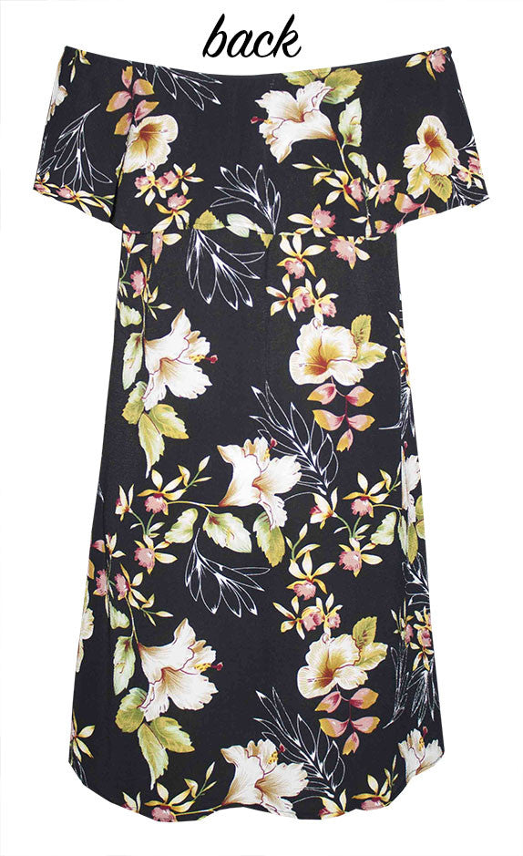 Shoulders Out Floral Dress