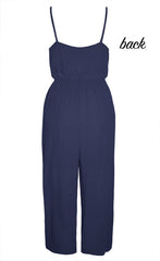 Playful Navy Cropped Jumpsuit