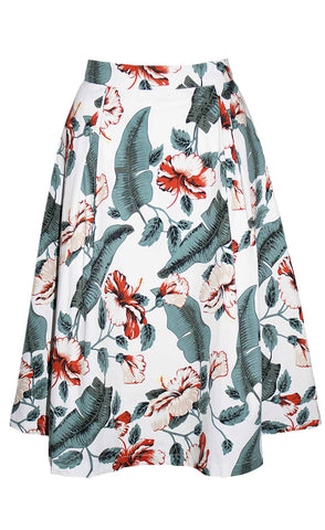 Leah White Floral Skirt