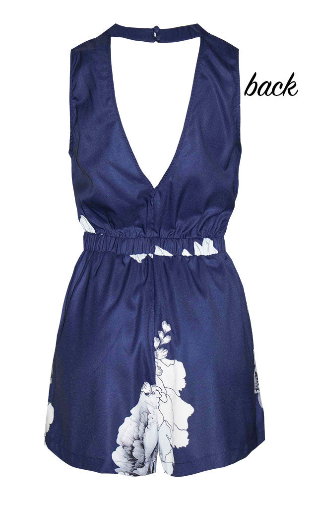 Bella Navy Floral Playsuit