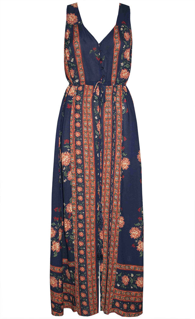Abby Navy Floral Maxi Dress