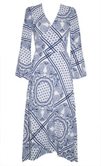 Sadie White Print Wrap Dress