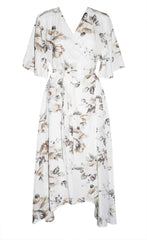Mandy White Floral Wrap Dress