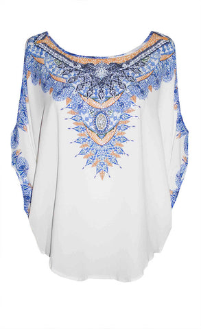 Resort Blue Print Top