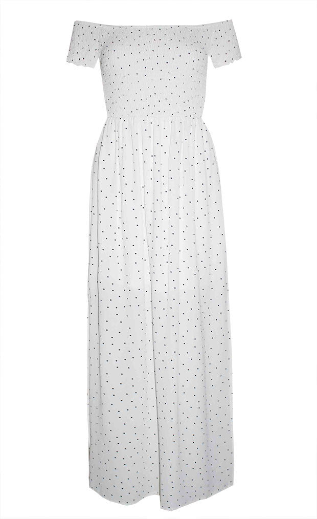 Amanda White Polka Dot Dress