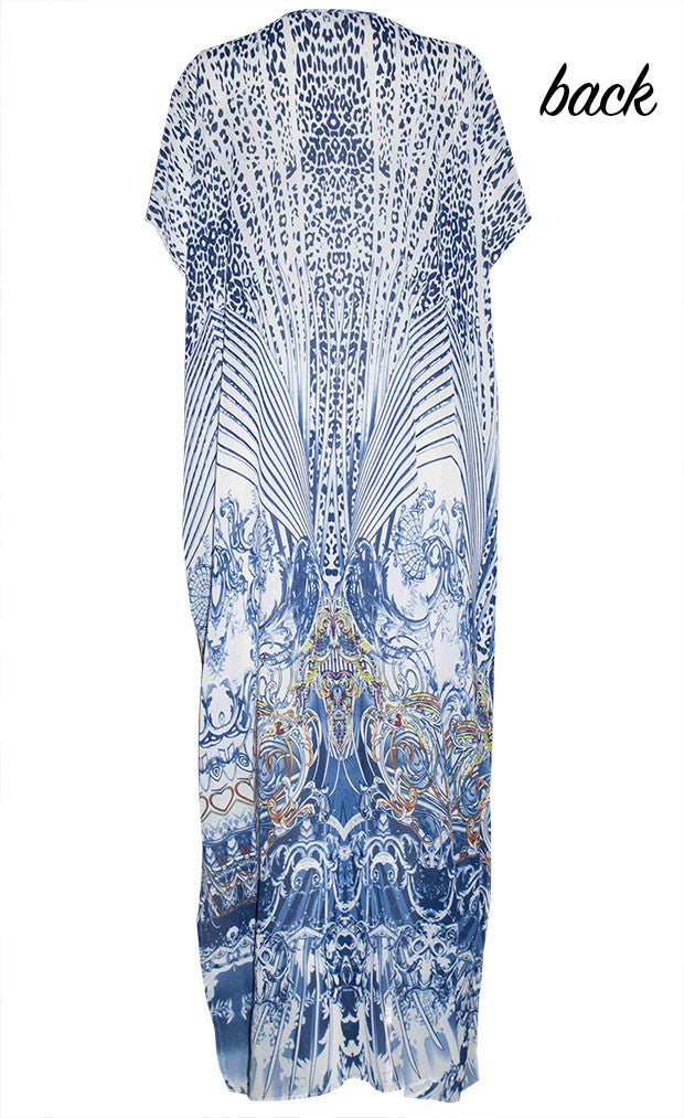 Hot Nights Blue Print Kaftan