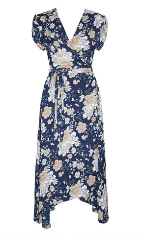 Sharon Navy Floral Wrap Dress