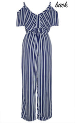 Linda Navy Stripe Jumpsuit