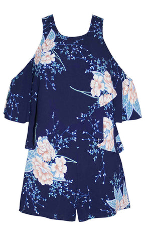 Rikki Navy Floral Playsuit