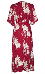 Mandy Red Floral Wrap Dress