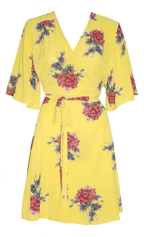 Desiree Yellow Print Wrap Dress