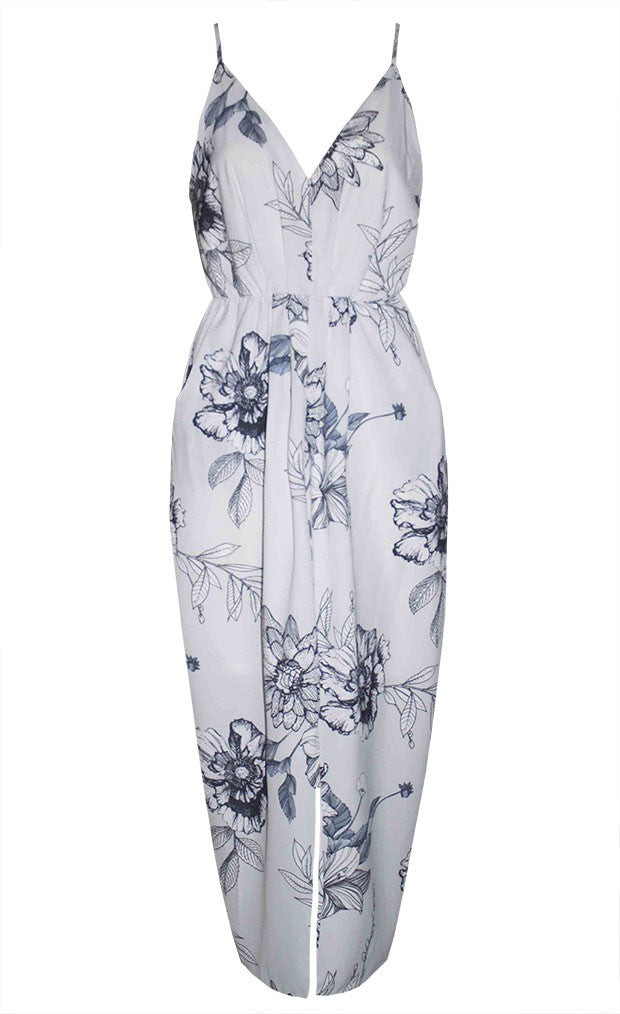 Lucky Charm Grey Floral Dress