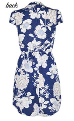 Donna Navy Floral Shirt Dress
