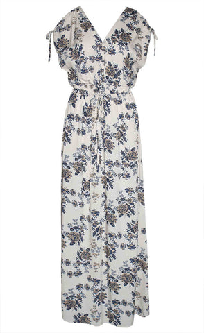 Simone Beige Floral Maxi Dress