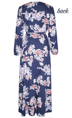 Promises Navy Floral Wrap Dress