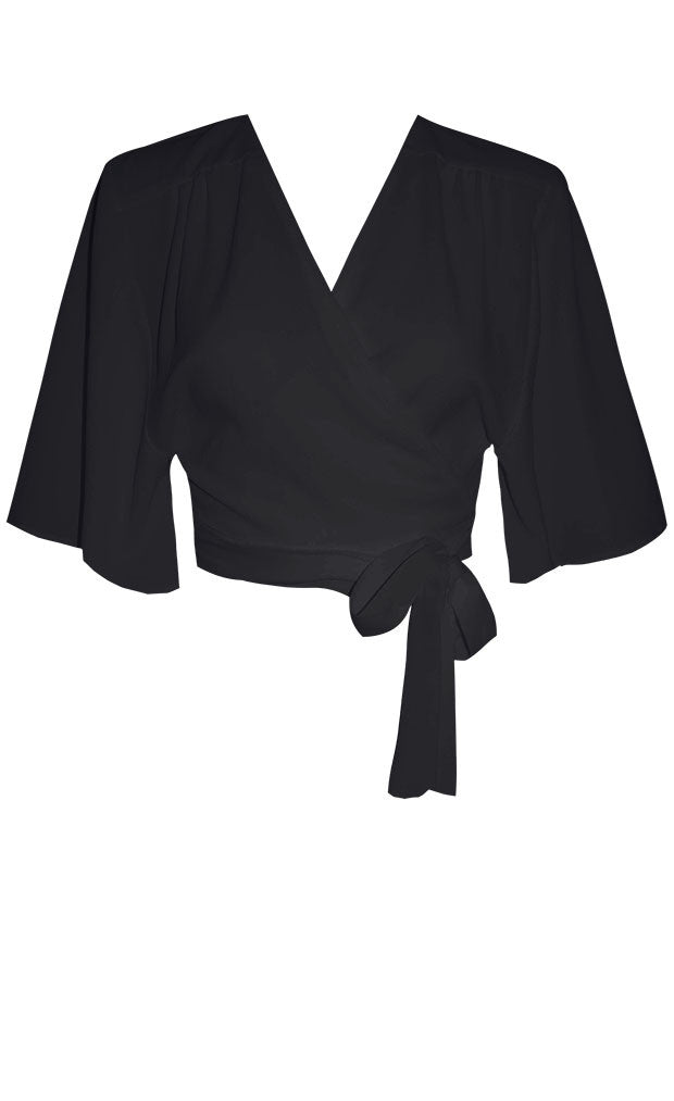 Tania Black Wrap Top