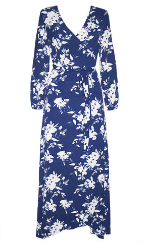 Promises White & Navy Wrap Dress