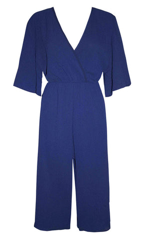 Zara Navy Cropped Jumpsuit