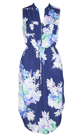 Fiona Navy Floral Shirt Dress