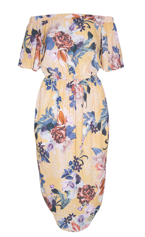 Mykonos Yellow Floral Dress
