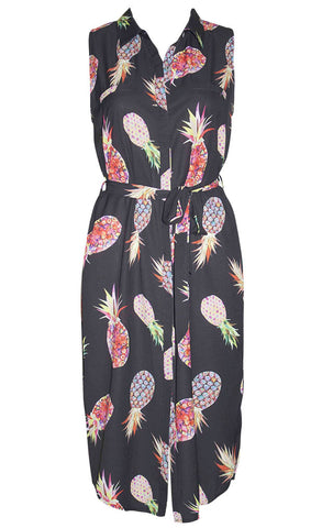 Marie Pineapple Shirt Dress
