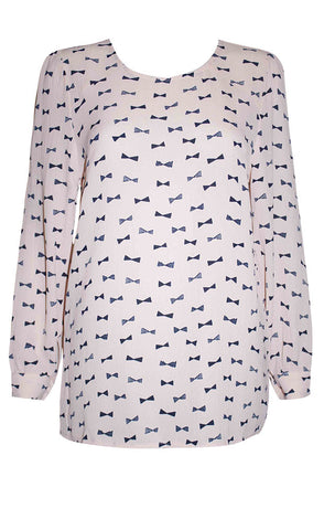 Marcy Pink Bow Blouse