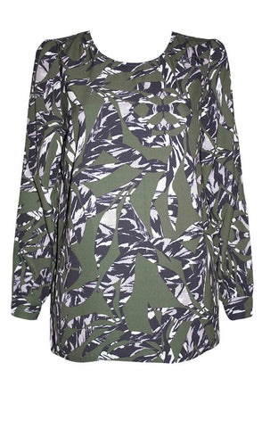 Marcy Green Print Blouse