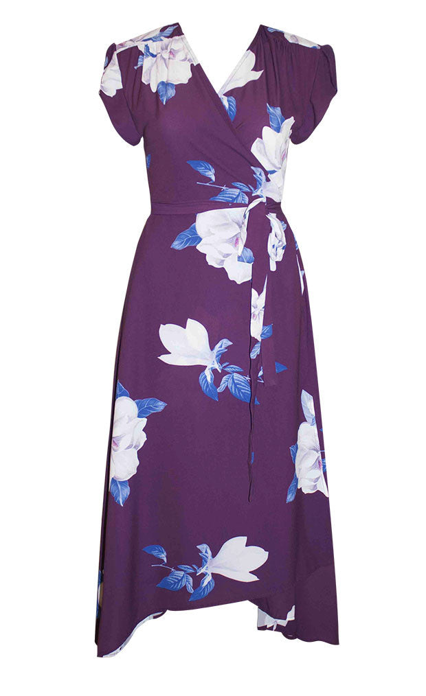 Sharon Purple Floral Wrap Dress