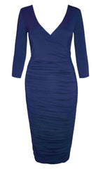 Carmen Navy Midi Dress