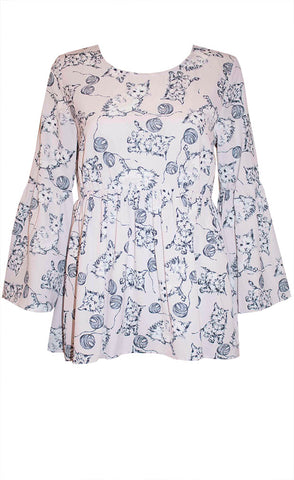 Heather Cat Print Top