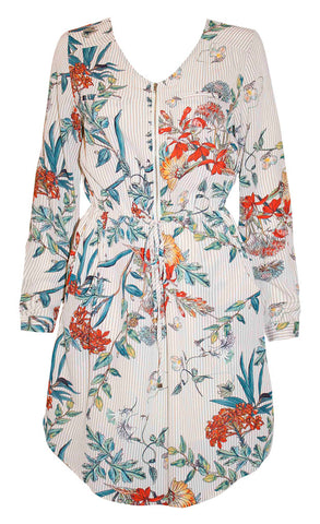 Chelsea Beige Floral Shirt Dress