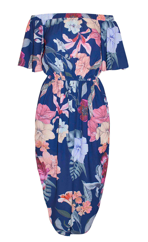Mykonos Navy Floral Dress