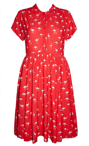 Frankie Red Flamingo Dress