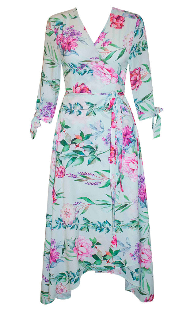 Stacey Mint Floral Wrap Dress