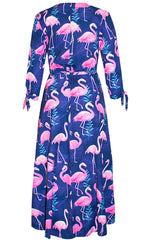 Stacey Flamingo Wrap Dress