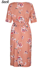 Linda Caramel Floral Dress