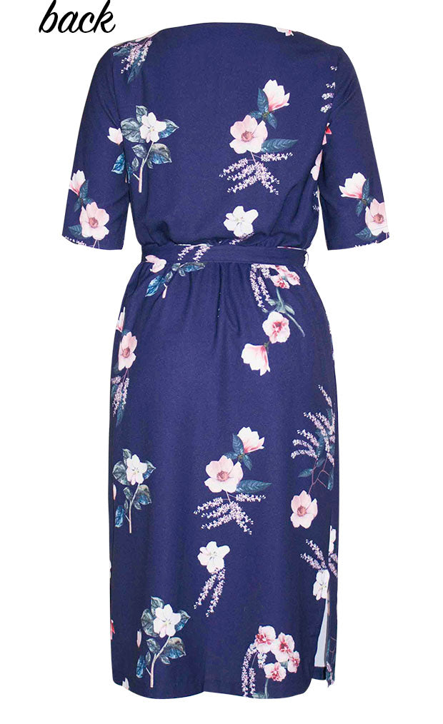 Linda Navy Floral Dress