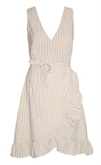 Lesley Beige Gingham Wrap Dress