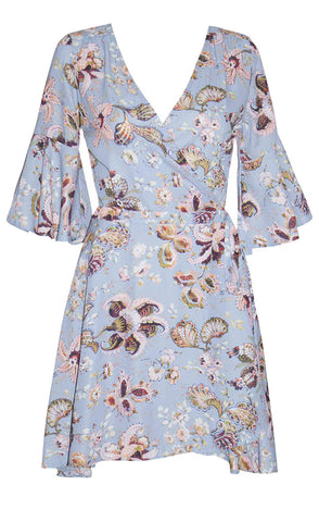 Dolly Blue Floral Wrap Dress