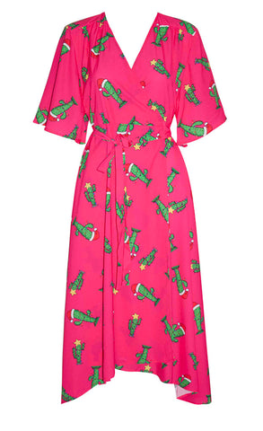 Mandy Xmas Cactus Wrap Dress