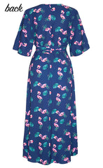 Mandy Xmas Flamingo Wrap Dress