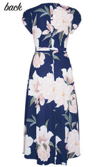 Sharon Navy Print Wrap Dress